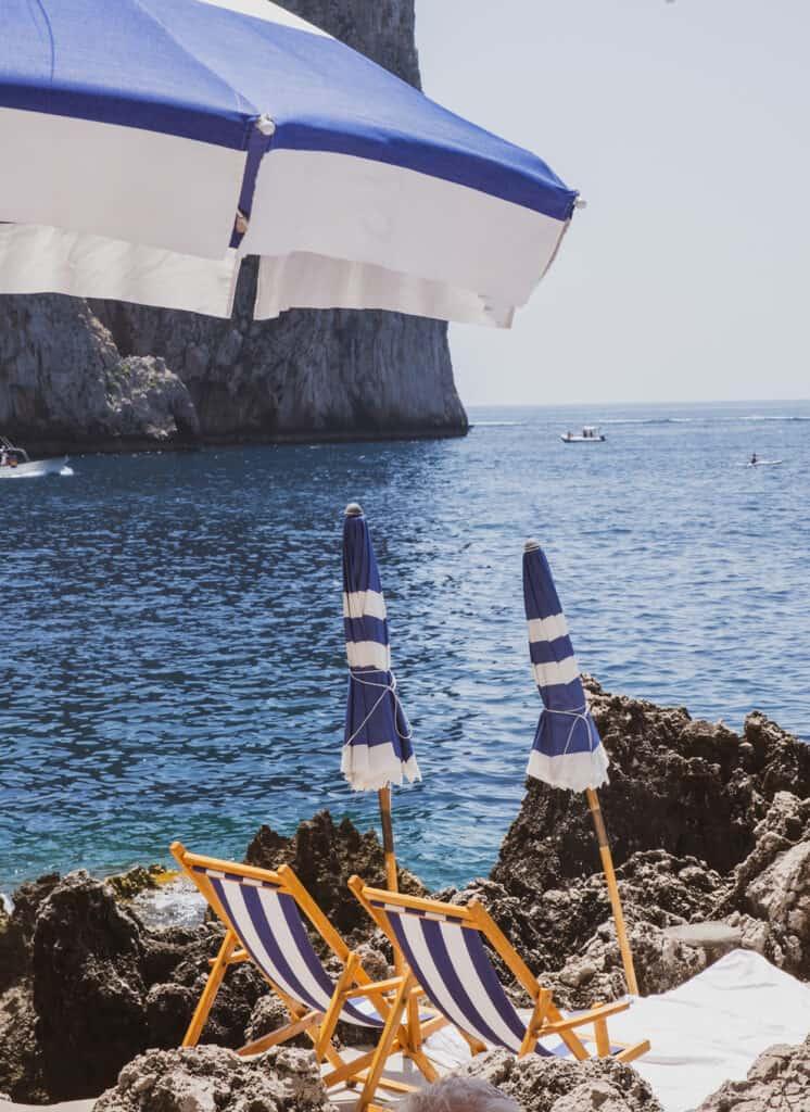 beach umbrellas and beach beds