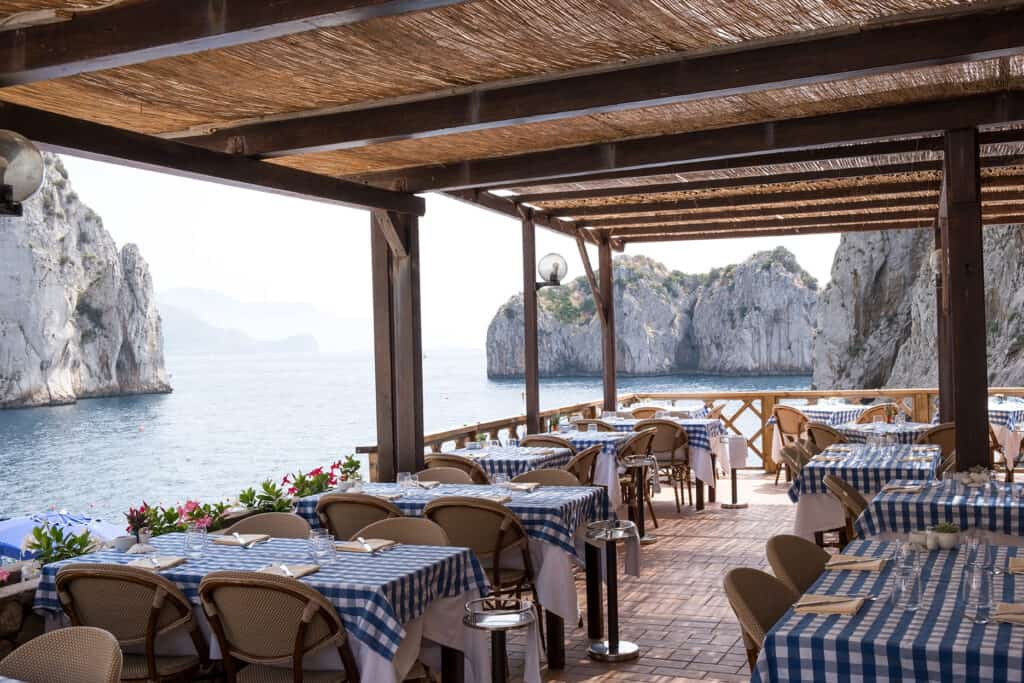 outdoor dining with a sea view