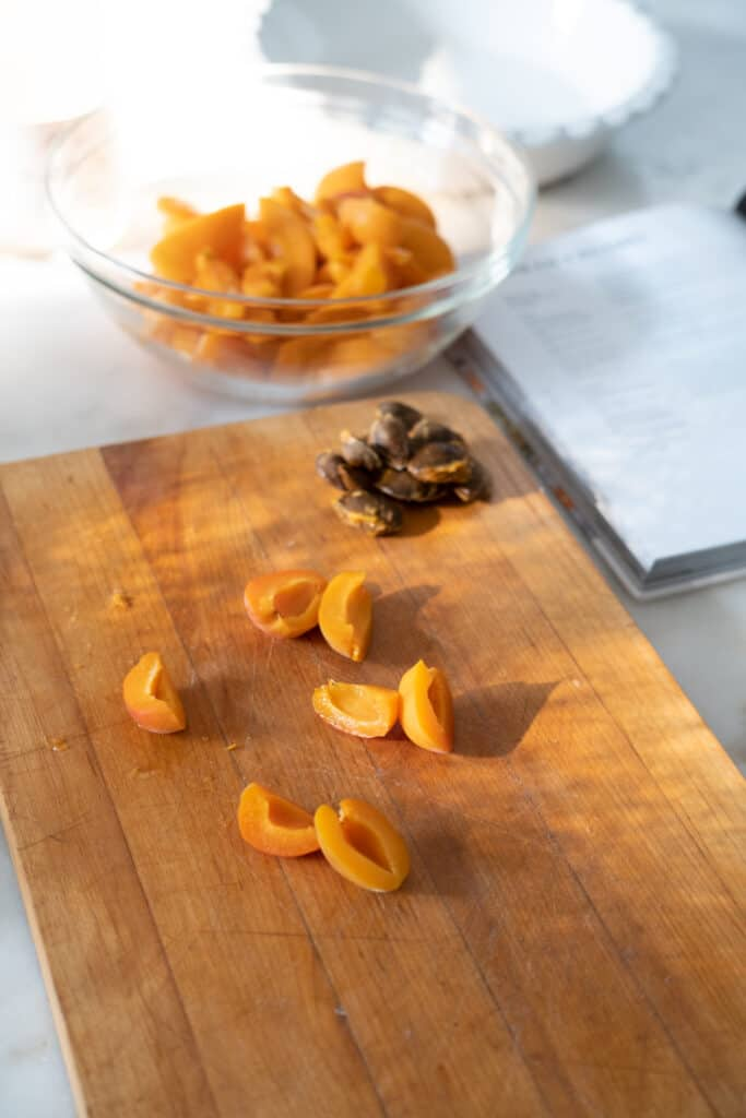 apricots on a chopping board for Apricot Crumble