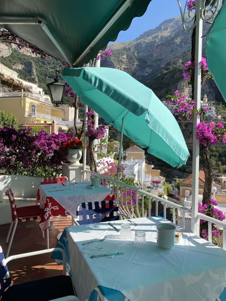 umbrella in the outdoor dining for Amalfi Coast Guide
