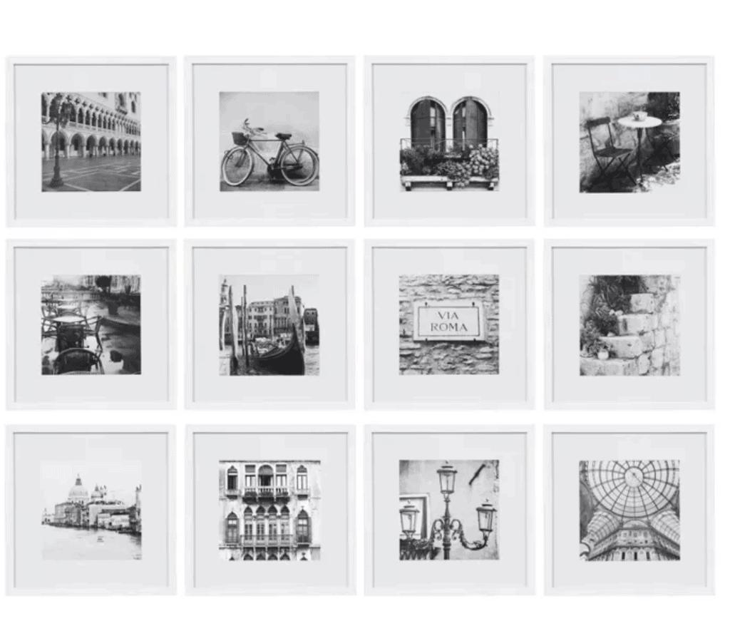 black and white framed photos