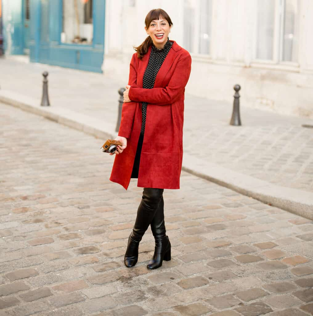 what to pack in Paris in the Fall with red coat