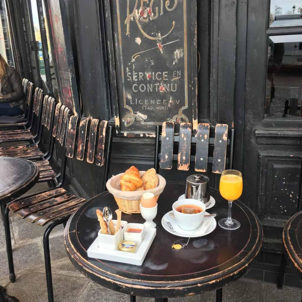French breakfast setup outside a cafe