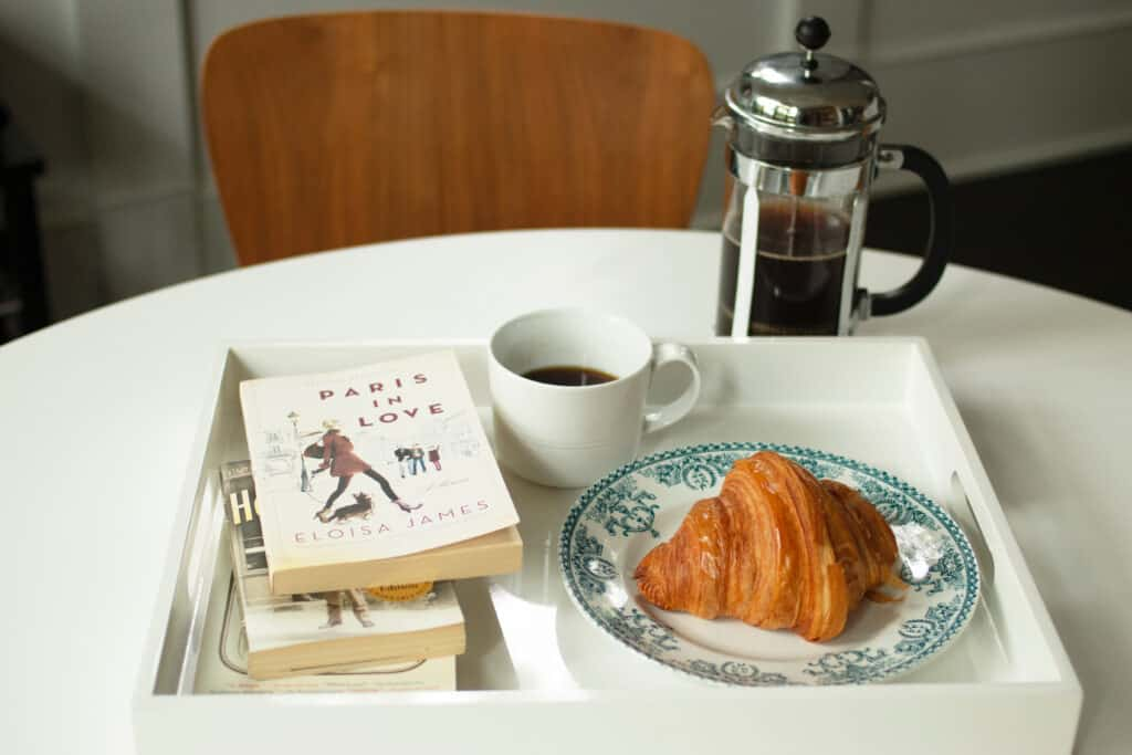 Frenchify Your Breakfast with coffee, croissant, and books