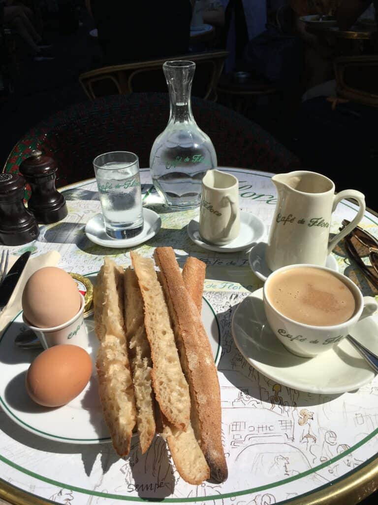 frenchify your breakfast with baguette, coffee, and egg